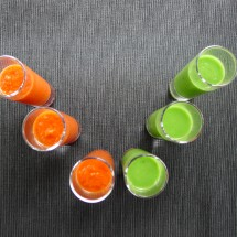 Ruby Red Gazpacho Shots & Gazpacho Verde Shots