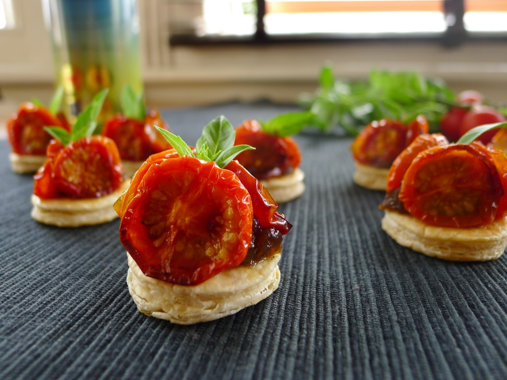 Cherry Tomato and Caramelised Onion Tarte Tatin – Canapés