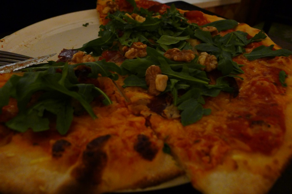 Walnuts, rocket and something else - pizza