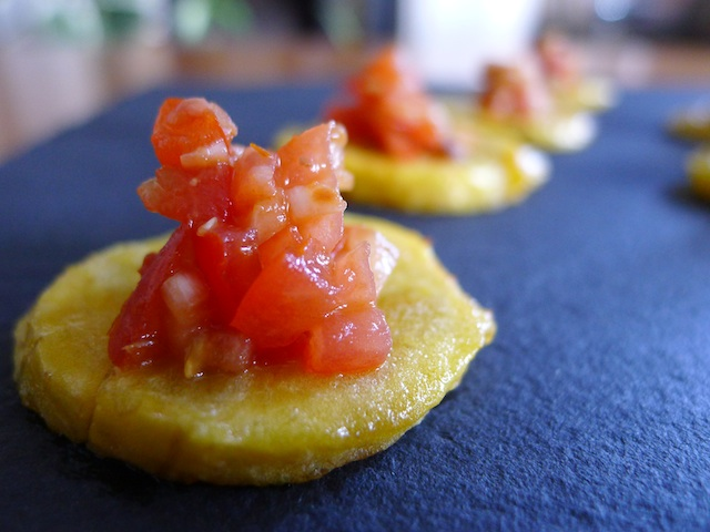 Spicy Plantain with Red Pepper Salsa